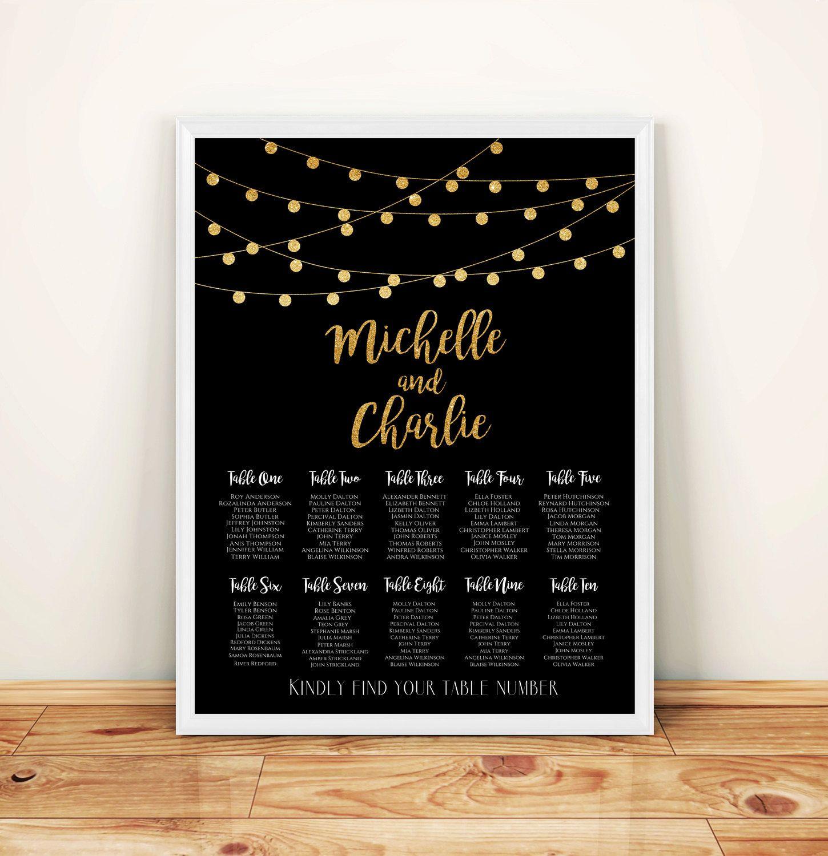 printable custom wedding seating chart gold glitter string lights