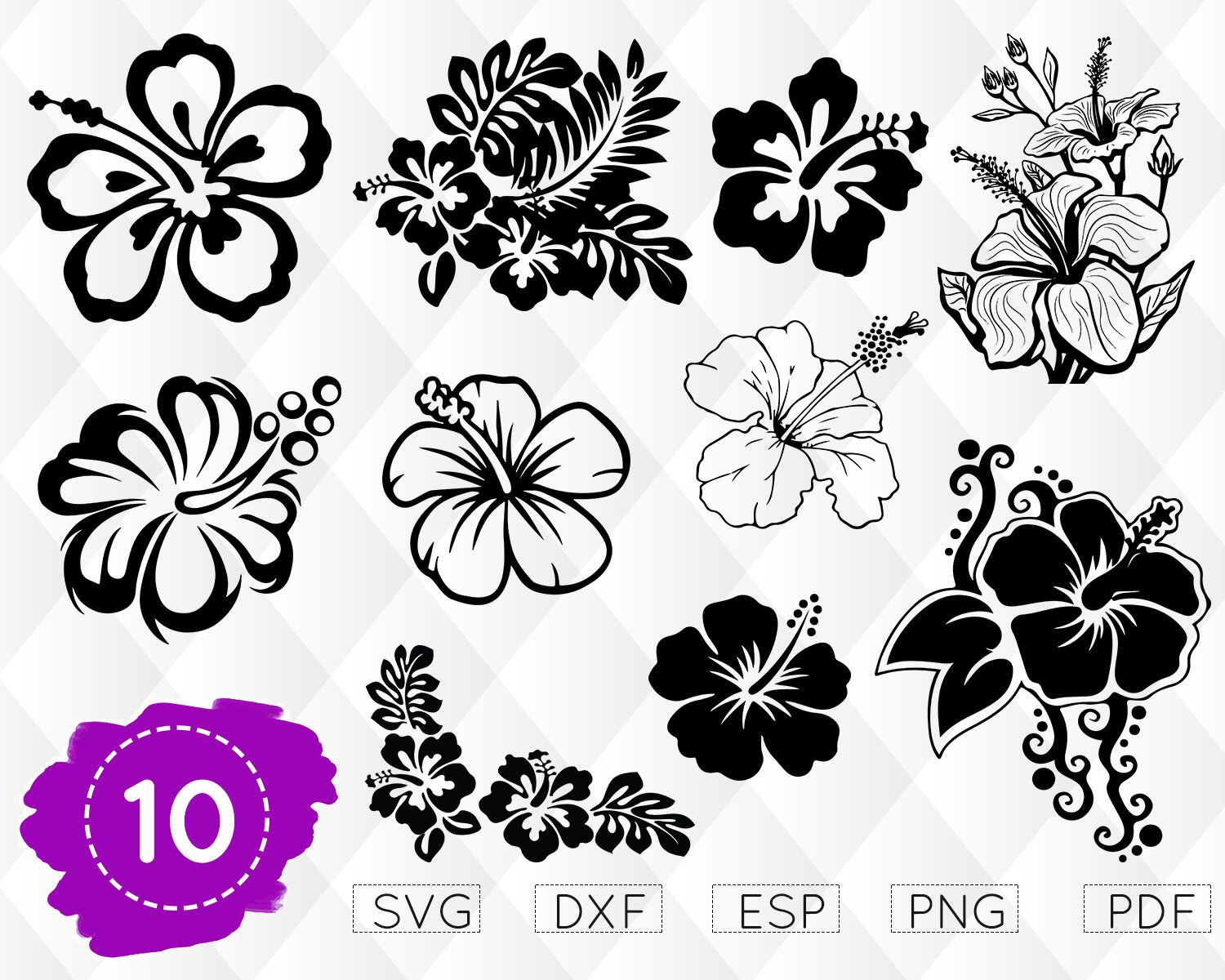 Hibiscus Svg Floral Svg Hibiscus Clipart Hawaii Svg Hibiscus Monogram Hawaii Flower Svg Hibiscus Cricut Stencil Flower Outline Flower Drawing Flower Svg