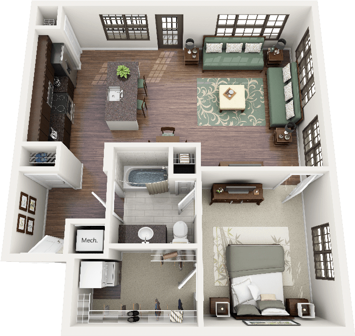 "3 To 4 Bedroom Apartments Near Me: 50 One ""1"" Bedroom Apartment/House Plans"