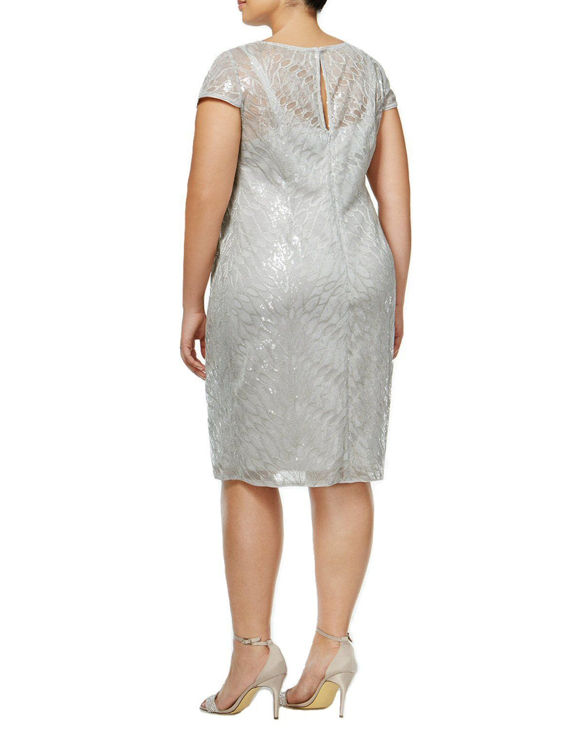9595232694a49f Adrianna Papell Womens Plus Metallic Sequined Cocktail Dress Silver 16W      Click on the image for additional details. (This is an affiliate link)   ...