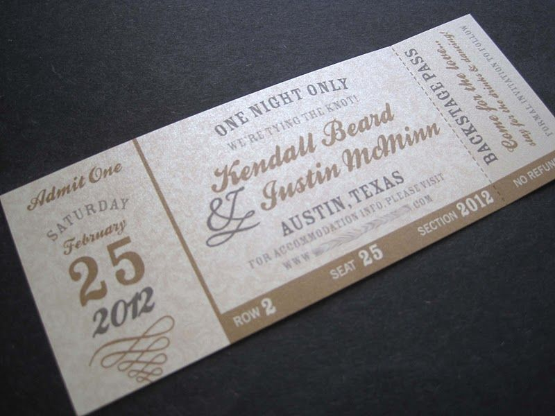 movie ticket stub wedding invitation%0A Thinking of a concert ticket savethedate    since music is    Wedding  StationeryWedding