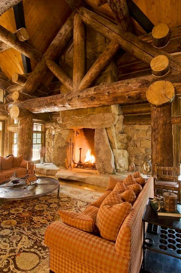 Standout Log Home Fireplaces Bold And Breathtaking Log Cabin