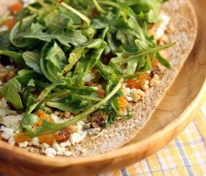 This week's Meatless Monday pick from BlogHer is htis amazing-sounding Goat Cheese, Raisin, Arugula and Walnut Flatbread Pizza from The Perfect Pantry!  #MeatlessMonday #Vegetarian #SummerFood