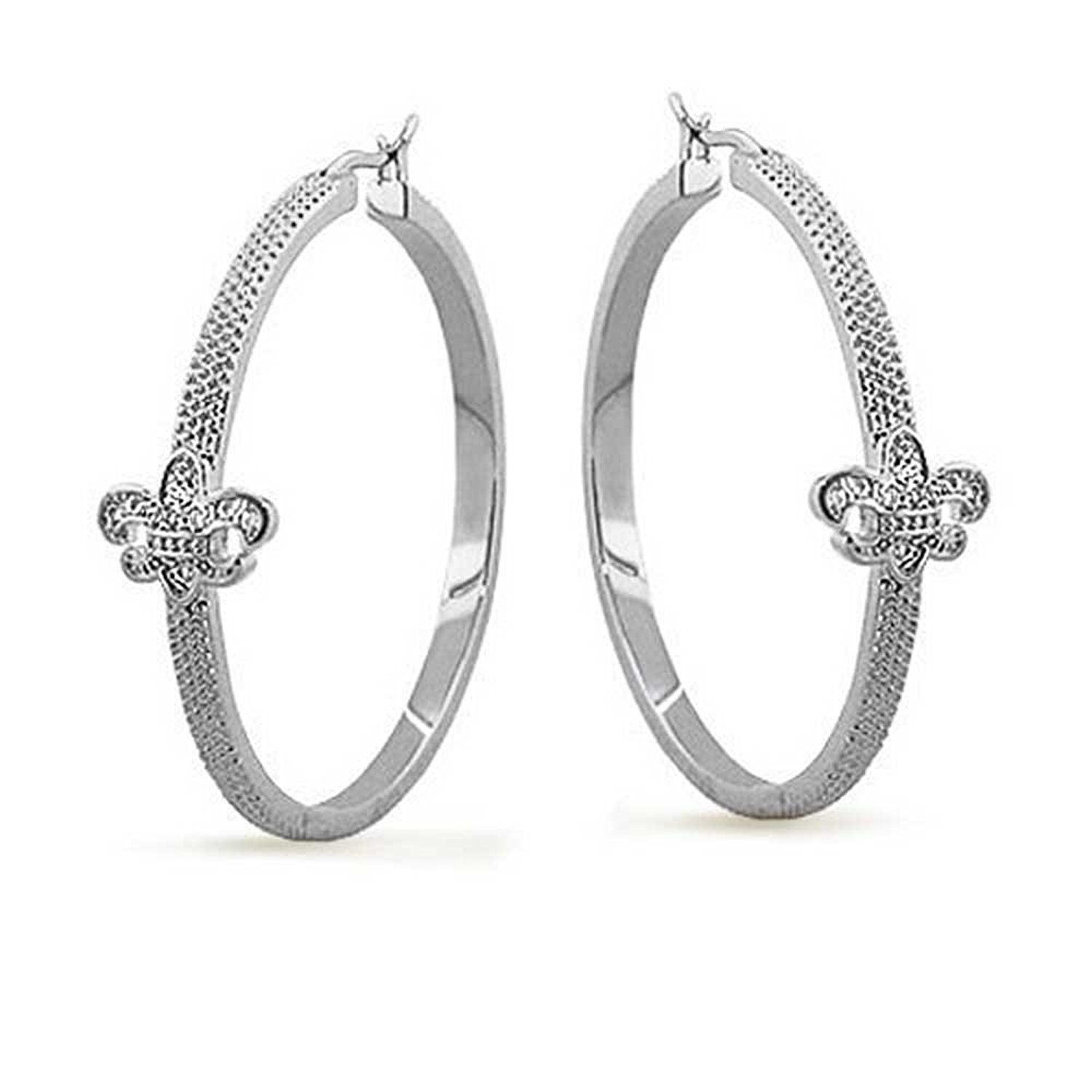 Bling Jewelry CZ Fleur De Lis Hoop Earrings Rhodium Plated Brass