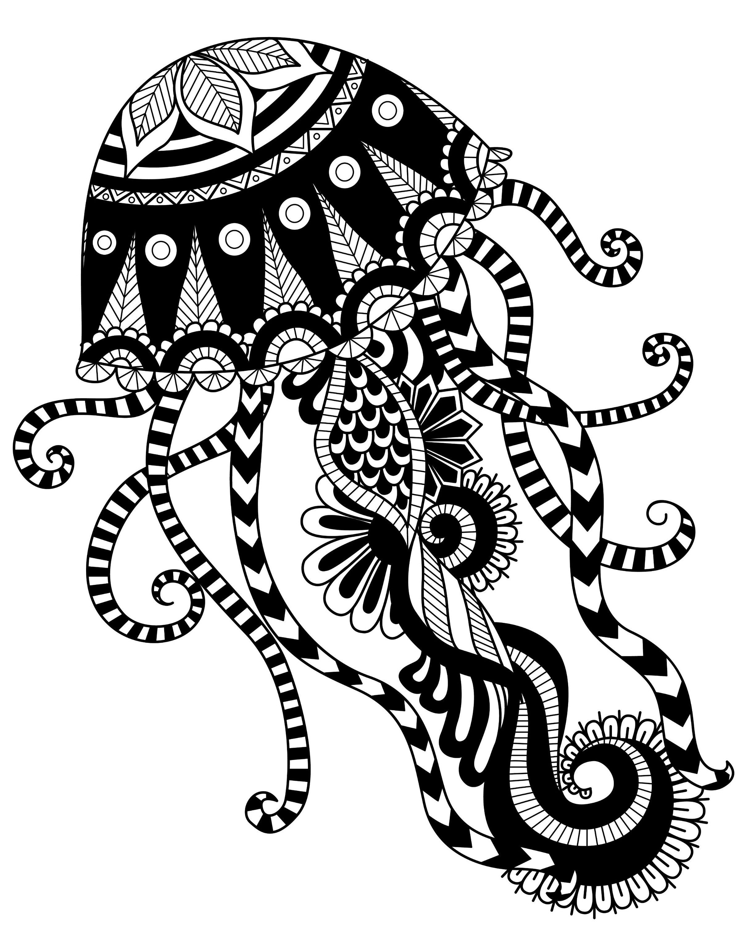 Jellyfish Animal Coloring Pages. jellyfish mandala coloring page  Art Coloring Pages Designs