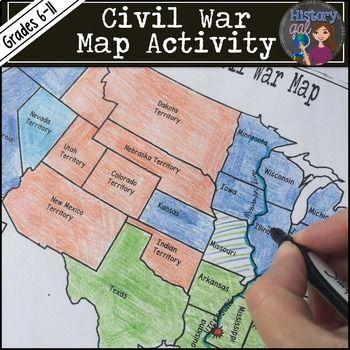 Civil War Map Activity Civil War Map Activities Civil War - War-between-the-states-us-history-map-activities