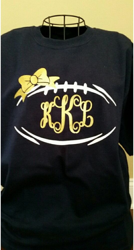 792f3d46 The perfect shirt to show your team spirit and still look cute! Regular  football with a glitter bow and your monogram in the middle. Perfect