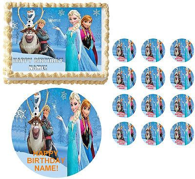 FROZEN Anna Elsa Characters Snowcap Edible Cake Topper Frosting Sheet-All Sizes!
