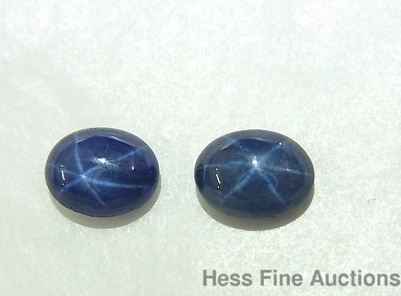 Two Matched Genuine Blue Star Sapphire Oval Cabochon Pair Of Gemstones 5 8 Tcw Blue Star Sapphire Star Sapphire Oval Cabochon