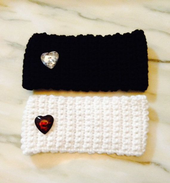 Set of Two Crochet Headbands/Ear Warmers with by SuesSpecialties1