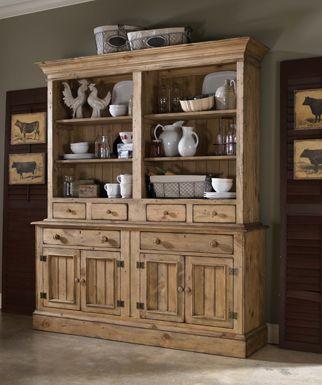 Vintage Pine Buffet w Hutch Set by Kincaid Furniture