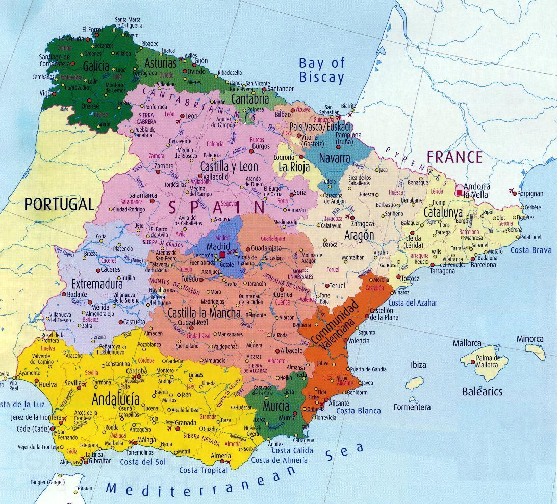 Spain Map 0 Jpg 1 092 988 Pixels Espagne Carte Espagne Region