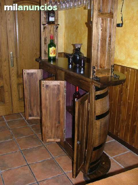 Barra bar de barriles con altillo foto 3 muebles para for Barra bar madera dibujo