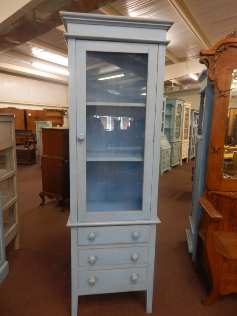 Vintage Pale Blue Tall Narrow Display Cabinet With Glass Door And Drawers Glass Cabinet Doors Narrow Cabinet Bathroom Storage Cabinet