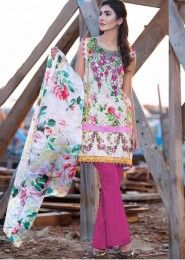 Casual Wear White Pashmina Printed Straight Suit