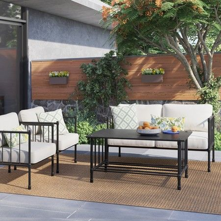 Www Target Com P Fernhill 4 Pc Metal Patio Conversation Set Linen