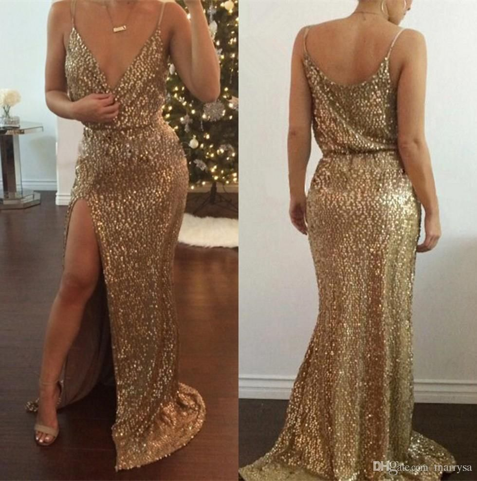 Gold sequins mermaid prom dresses plus size sexy v neck splits side