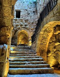 beautiful ancient rural castle entry stairs