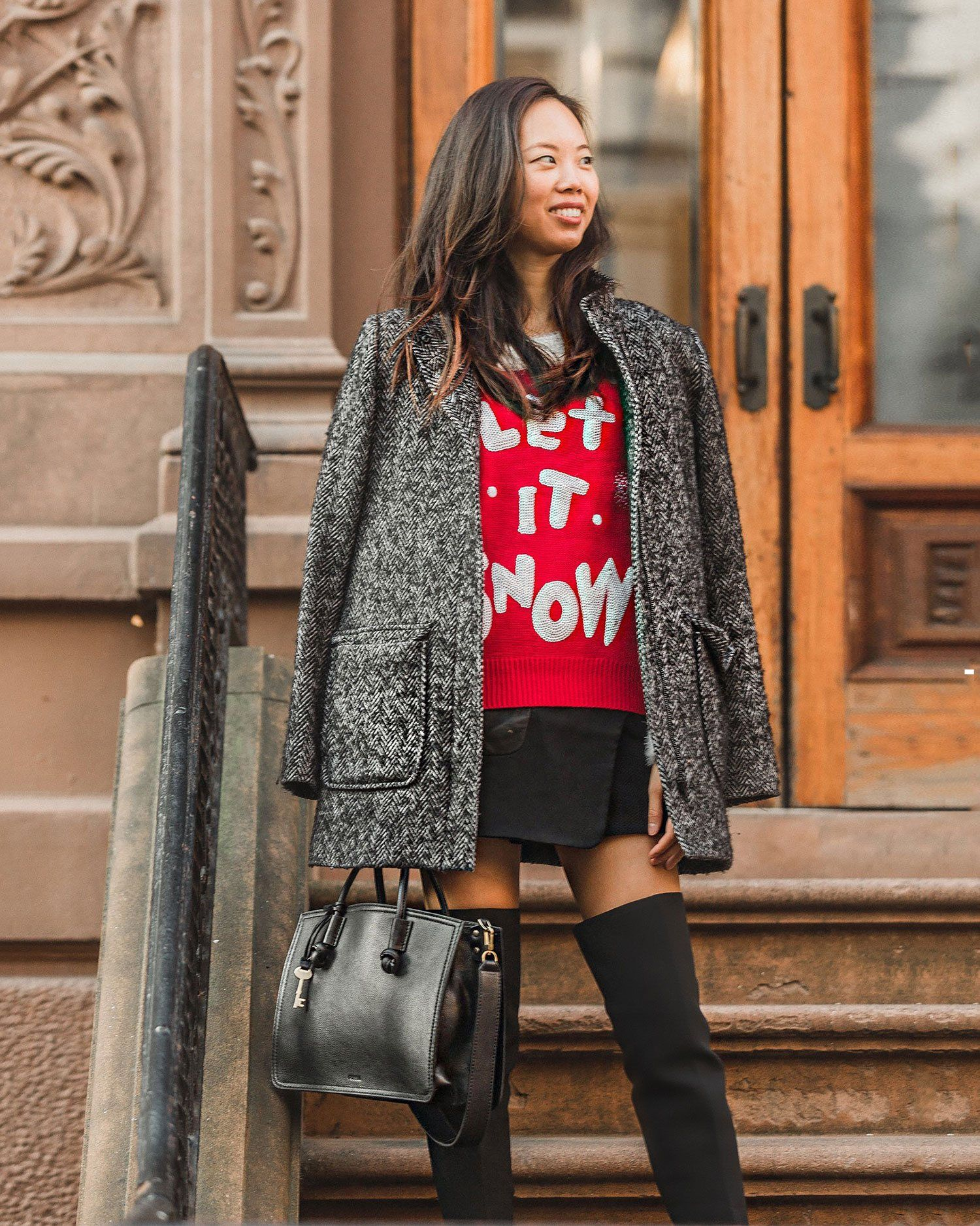 Fashion style Outfit Winter ideas: tacky christmas party attire for lady