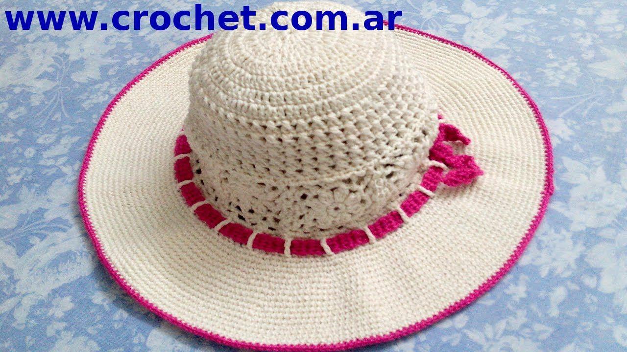 Sombrero playero en tejido crochet tutorial paso a paso. | sombrero ...