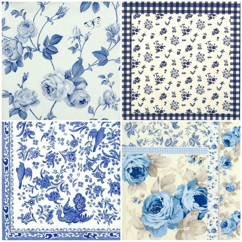 4x Paper Napkins Beautiful Mystery dark blue for Party Decoupage
