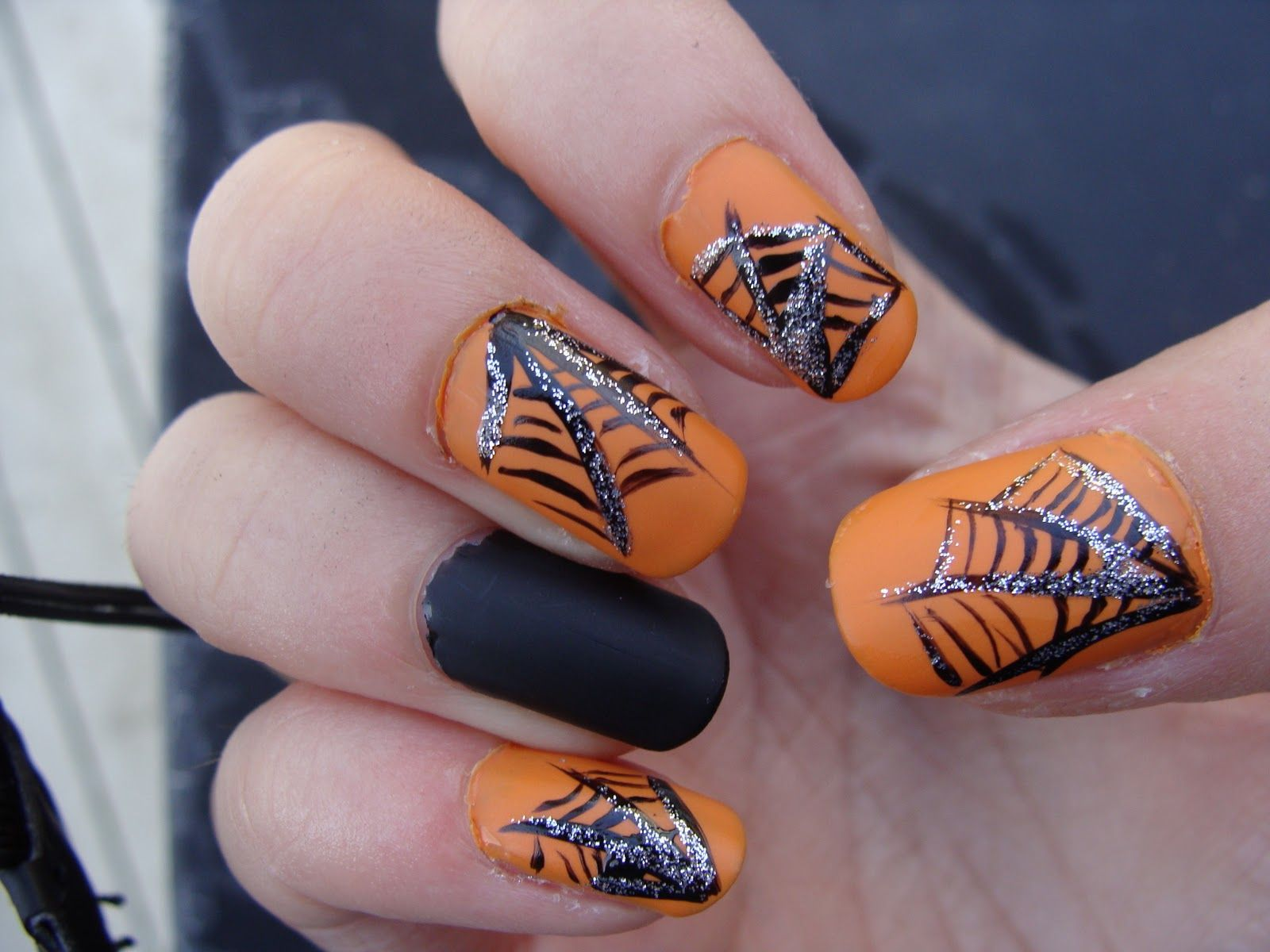 black, orange, silver | Halloween nails, Nails, Black ...