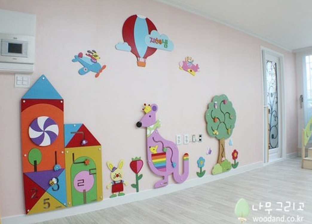 Wall decoration for kids classroom preschool nursery for Classroom wall mural ideas