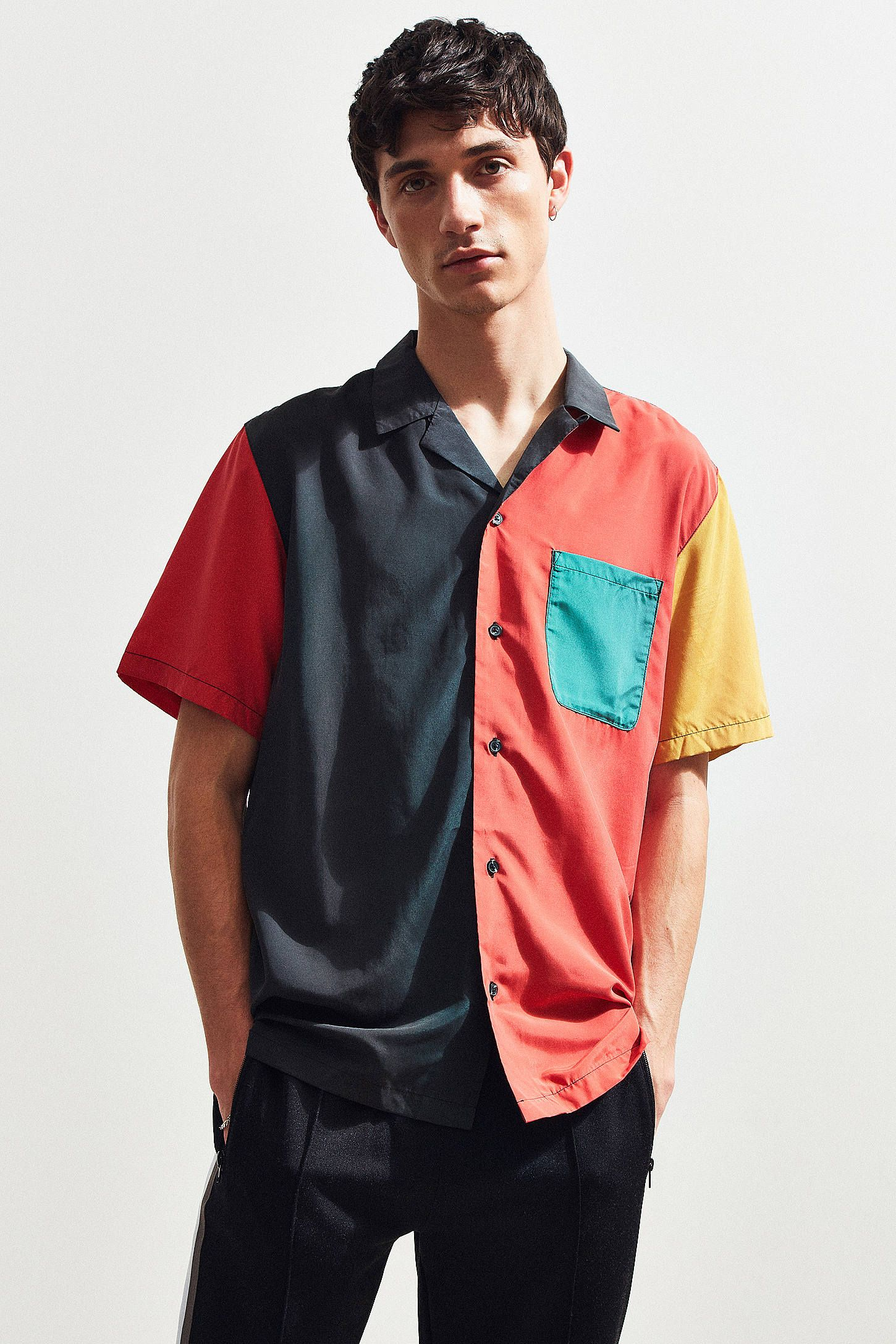 896826253 UO Colorblocked Short Sleeve Button-Down Shirt | StyleTu | Shirts ...