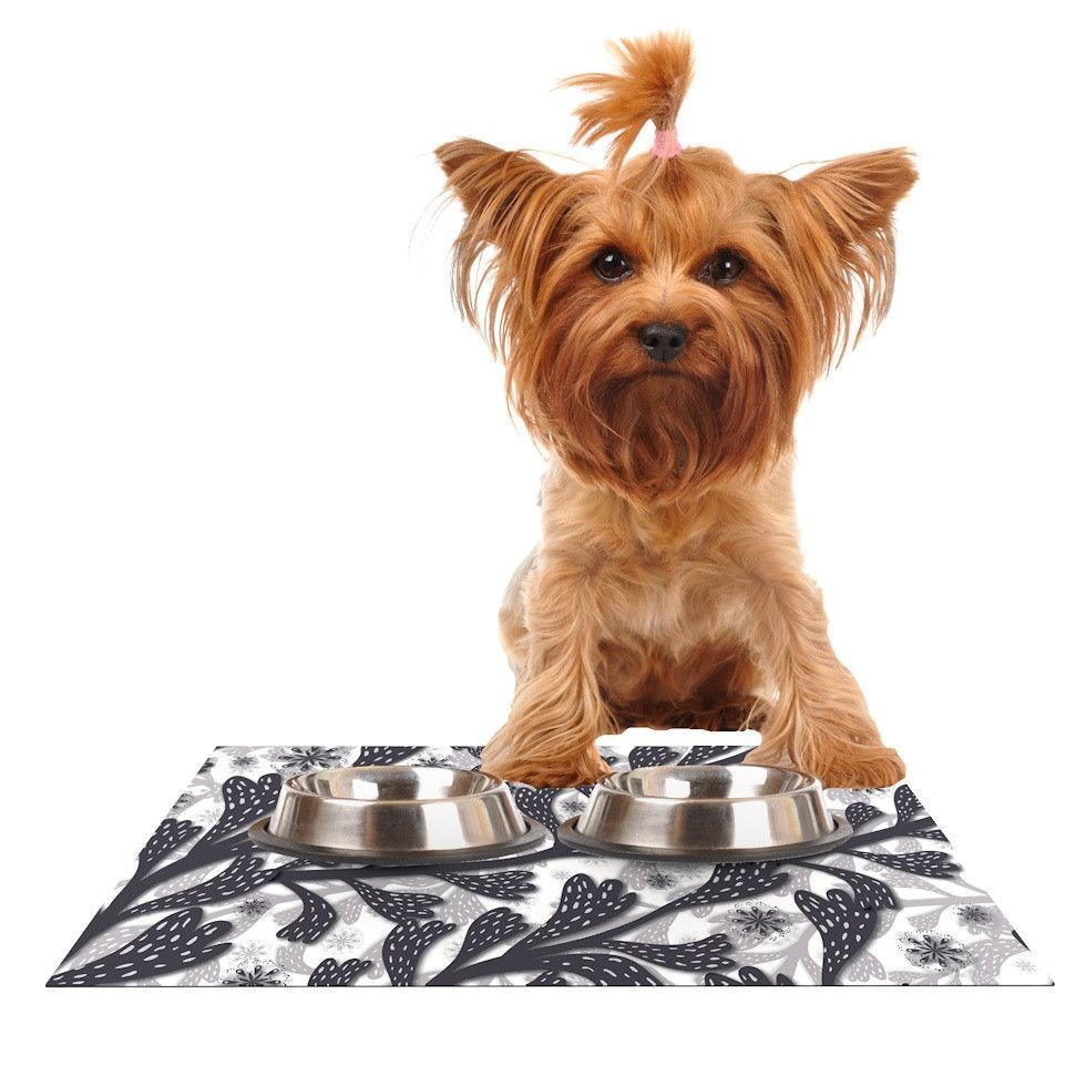 "Akwaflorell ""Snow Houses"" Gray Abstract Dog Place Mat"