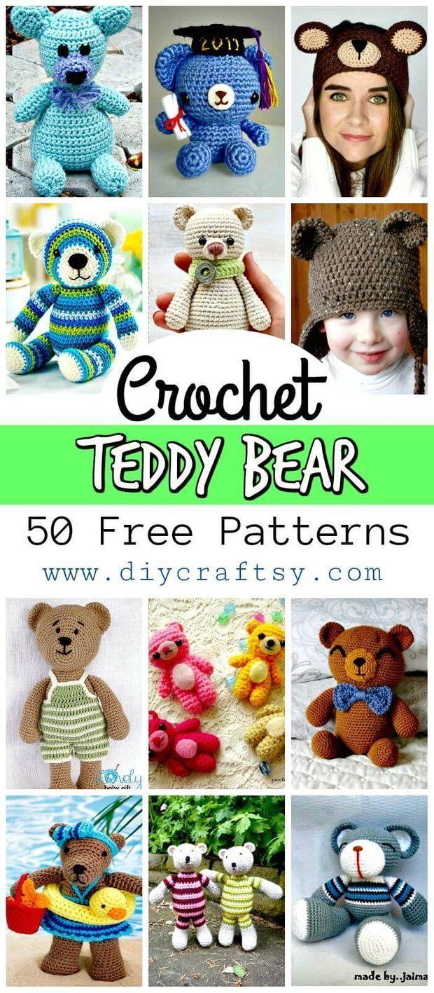 50 Free Crochet Teddy Bear Patterns #crochetteddybears 50 Free Crochet Teddy Bear Patterns #teddybearpatterns
