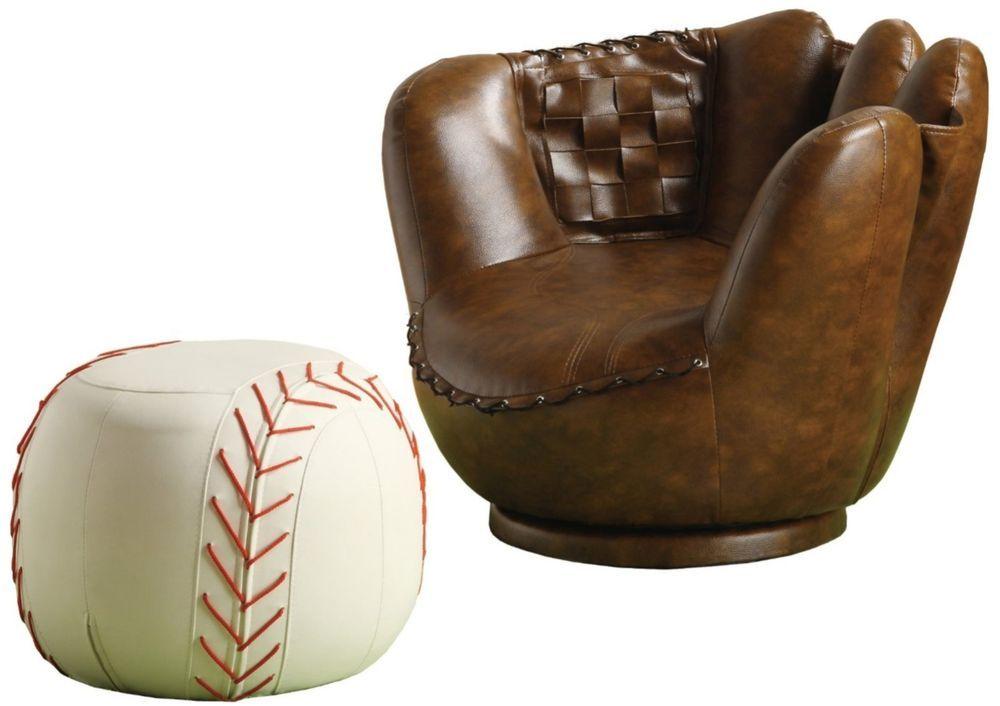 Super Details About Baseball Glove Chair Ottoman Set Home Inzonedesignstudio Interior Chair Design Inzonedesignstudiocom
