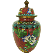 Vintage Chinese Cloisonne Enamel with Brass Ginger Jar