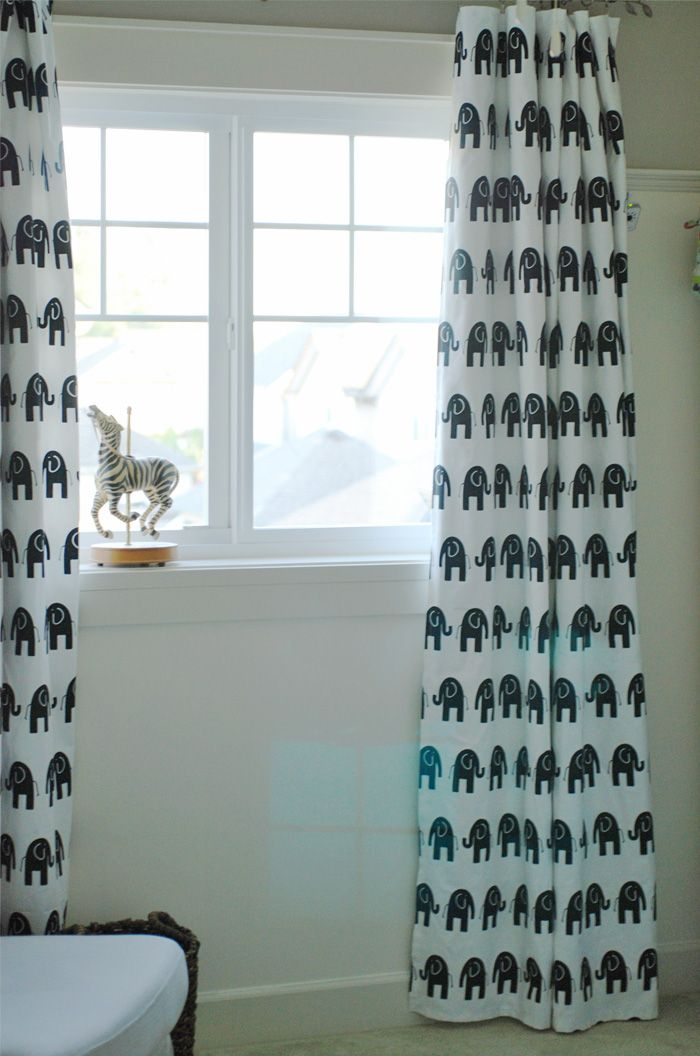 Elephant Curtains In The Nursery Fabric 2