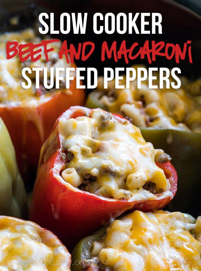 Slow Cooker Beef Macaroni Stuffed Peppers Recipe Stuffed Peppers Slow Cooker Beef Beef Macaroni