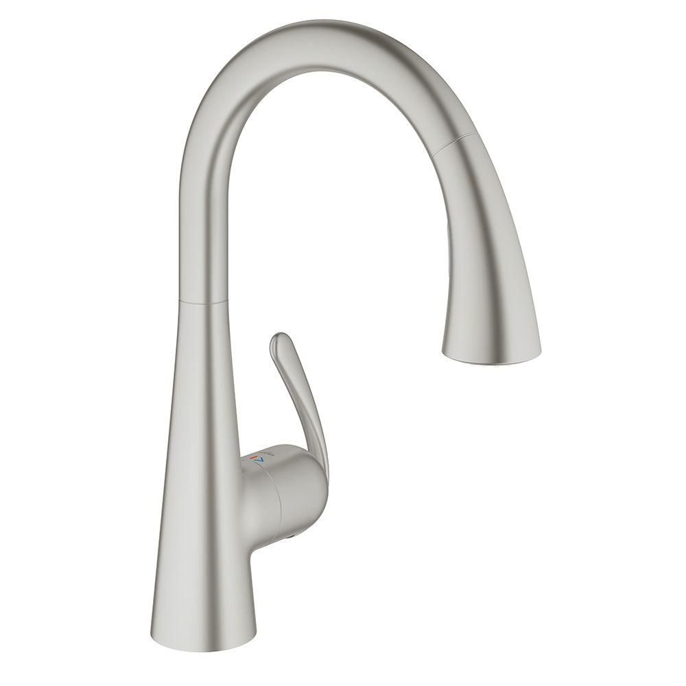 Grohe Ladylux3 Cafe Singlehandle Pulldown Sprayer Kitchen Faucet Stunning Brushed Nickel Kitchen Faucet Design Decoration