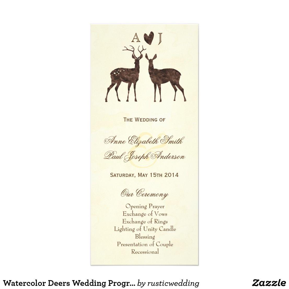 Watercolor Deers Wedding Program Wedding Programs And Weddings