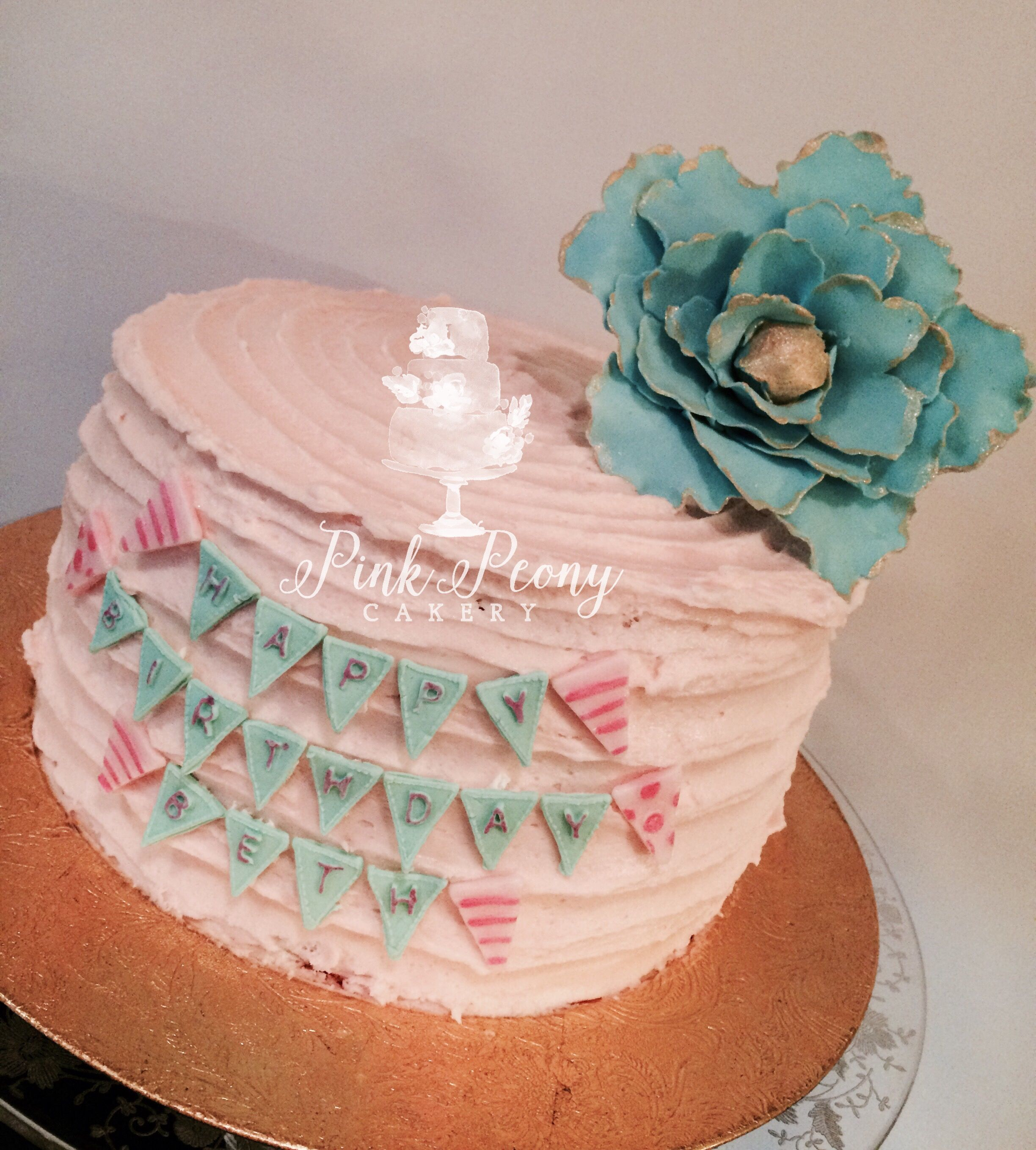 Shabby chic pink and turquoise birthday cake with gumpaste fantasy