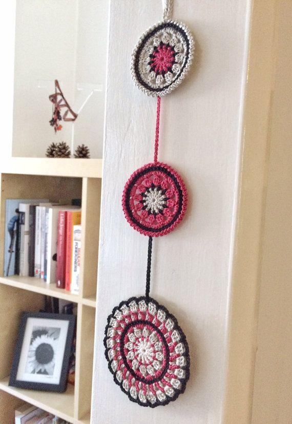 Noir and pomegranate mandala crochet wall pendant   Pinterest ...
