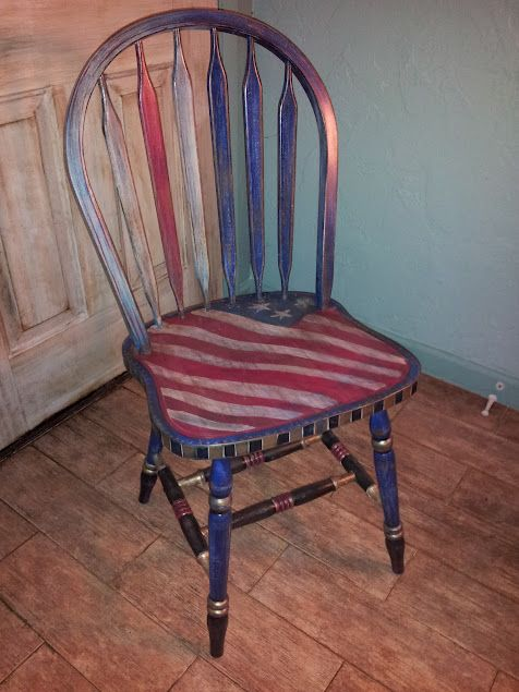 Awe Inspiring Patriotic Red White And Blue Chair Painted Wooden Chairs Pdpeps Interior Chair Design Pdpepsorg