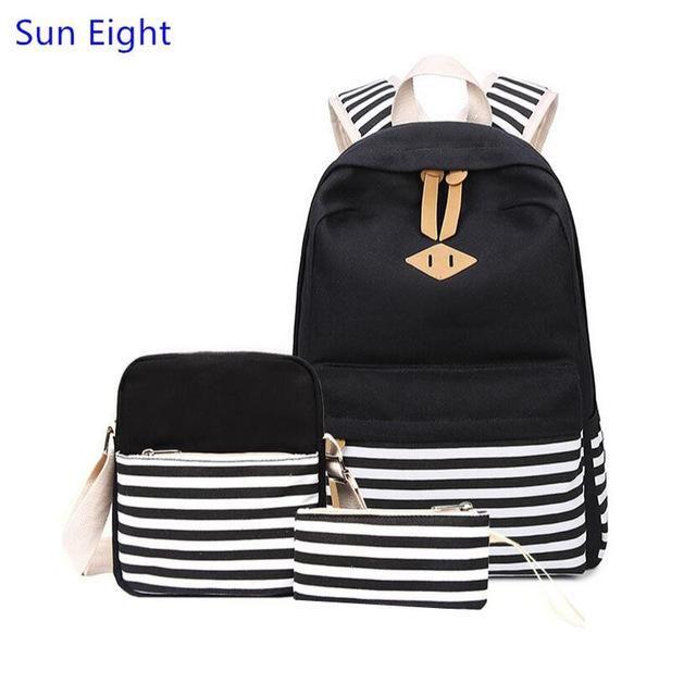 66b0b1a656 Sun Eight 3 pcs kids blue striped canvas backpack set school bags for girls  school supplies children pen pencil bag boy bookbag