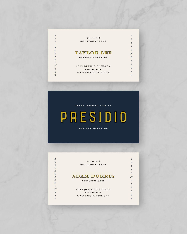 Presidio Business Card Designs Flywheel Co Houston Texas