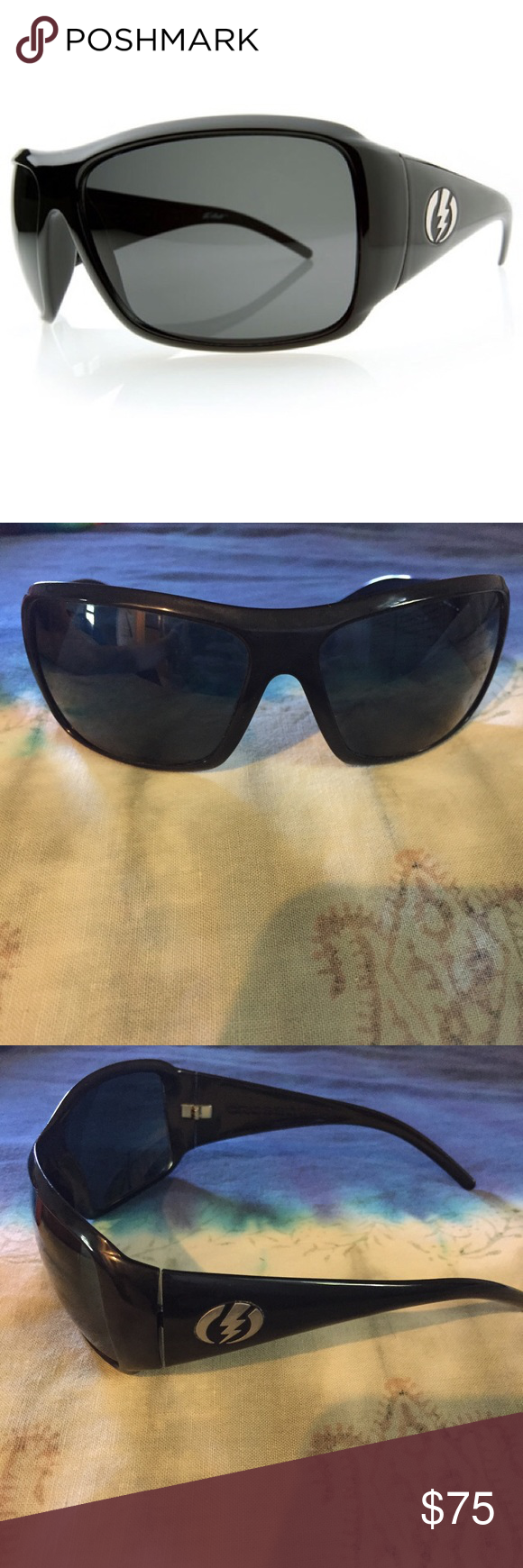 Electric Crossover Sungles Sunnies 100 Uv Protection Gloss Black Comes With Little Pouch Good Condition