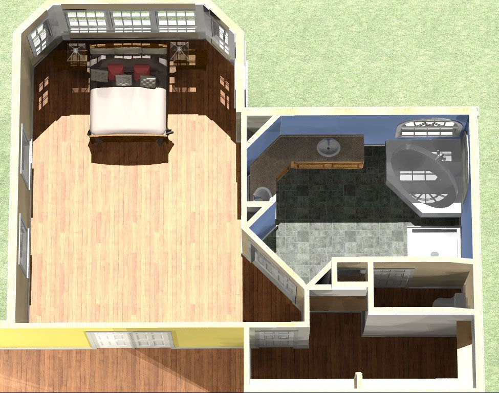 My favorite idea in 3d have the extended living room off the left of the bedroom and enter Master bedroom plans with bath