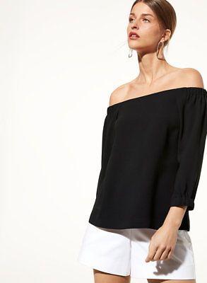 Aritzia-Babaton-Black-RODRIGO-Off-Shoulder-Blouse-Top-satin-back-crepe-Size-M
