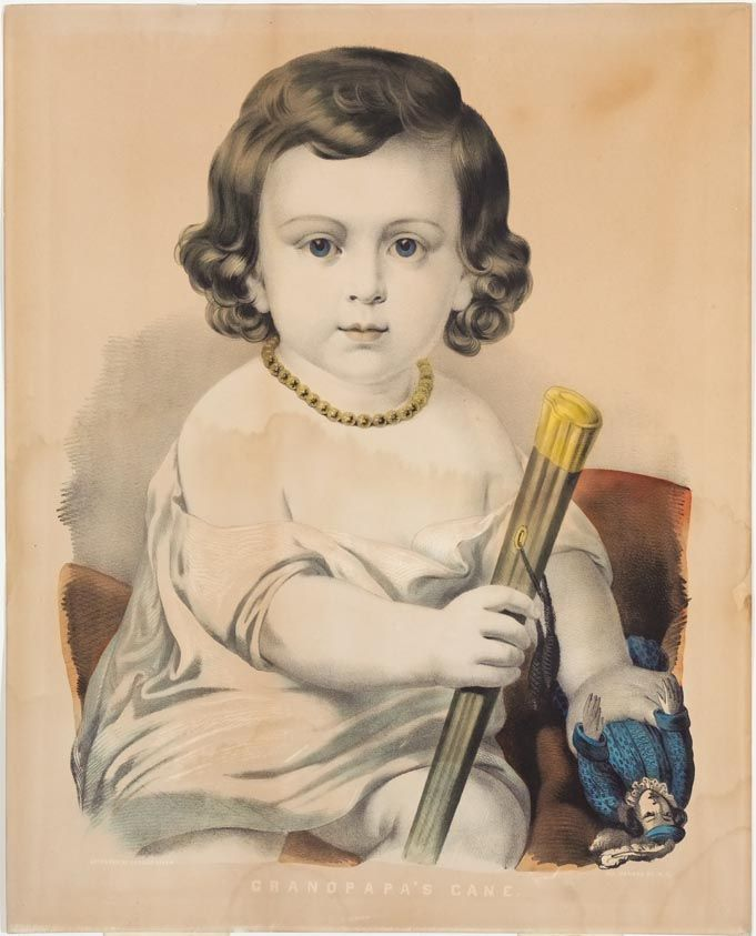 <p>Young girl dressed in white dress looking directly at viewer. She is holding a doll in a blue dress in her proper left hand and a cane in her proper right hand. Title is in white letters with no outlining.…</p>