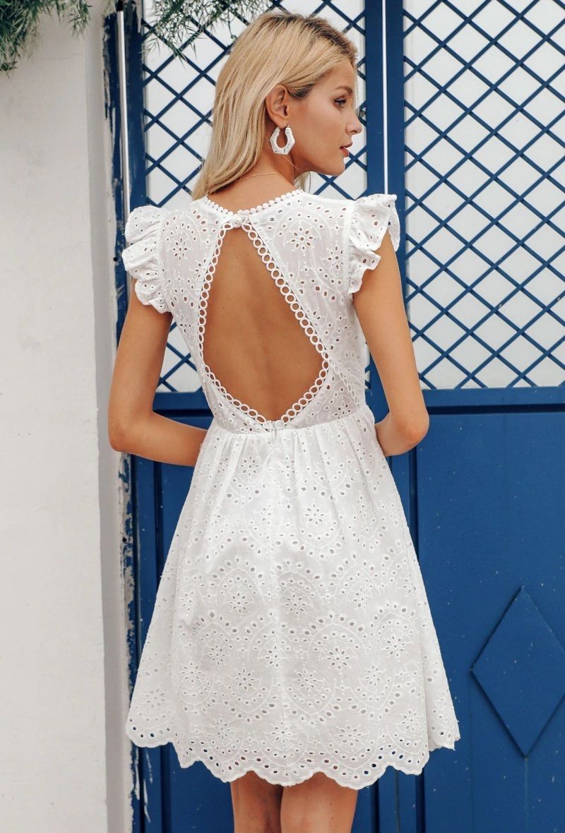 Click On The Photo To Shop This Beautiful White Dress New White Lace V Neck Knee Midi Leng Backless Dress Summer White Dress Summer Summer Dresses For Women [ 1180 x 800 Pixel ]