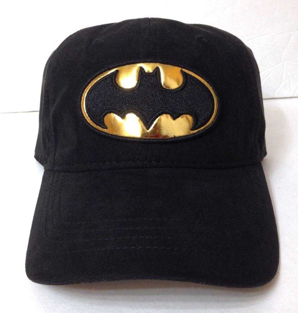 New BATMAN SHINY GOLD LOGO HAT Relaxed Fit Dad Cap Black SUEDE LOOK women  or men  DCComics  BaseballCap cee62397501b