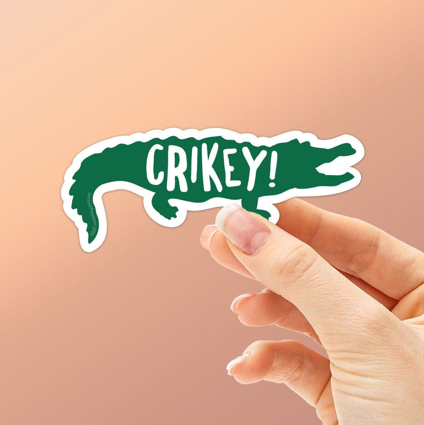 """""""Crikey! Whether you're an Aussie, an Australian tourist, or a fan of the old Crocodile Hunter TV series with Steve Irwin, you'll recognize this quintessential Australian slang expression of surprise. This cute crocodile sticker is perfect for all those who love reptiles, the Australia Zoo, Crocodile Dundee quotes, or all 3. Stick this waterproof vinyl decal on your Hydroflask, thermos, cooler, or laptop. It's a smaller size, perfect for filling in the empty spaces between stickers! ➳ Dimensions"""
