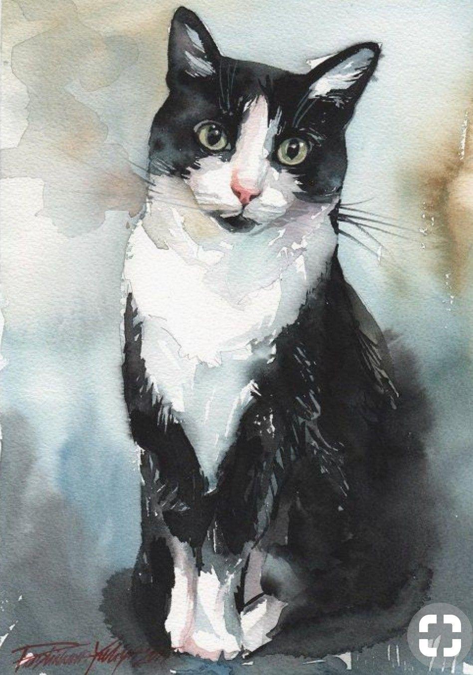 eab98ef31403 Tuxedo cat watercolor | Art: Cats | Watercolor cat, Cats, Watercolor ...