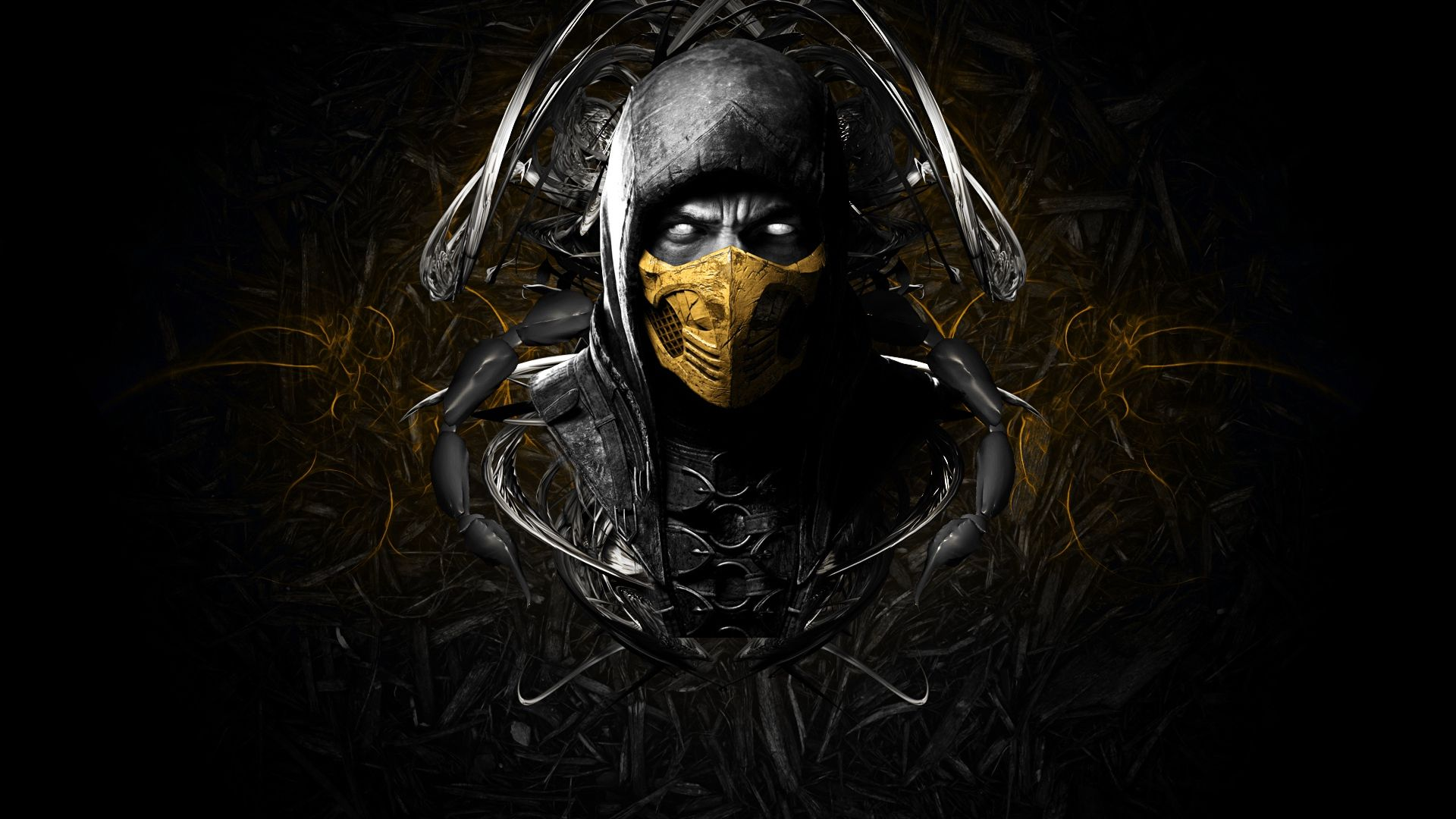 1920x1080 Wallpaper Mortal Kombat X Scorpion Face Ninja Mask